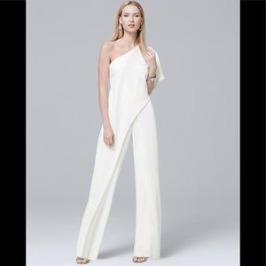 Adrianna papell one shoulder draped jumpsuit Ivory